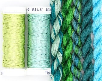Free Design, PDF, Silk thread, needlepoint design, silks, embroidery thread assortment, turquoise, green, hand dyed thread, holiday gift