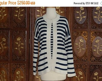 ON SALE 1970s ADOLFO New York Navy/Cream Striped Twin Knit Sweater Set