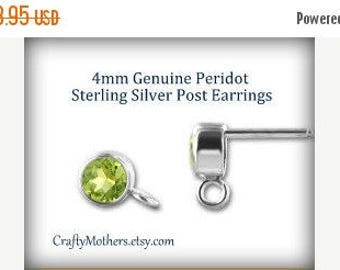 8% off SHOP-WIDE, PERIDOT Gemstone and Sterling Silver Post Earrings w/ backings (4mm) - 1 Pair (2 pieces)