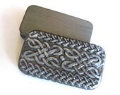 MINI Metal Pill Box Silver tone Viking Celtic endless knot design Slide Top Tin Handmade unisex gift FREE gray velvet pouch
