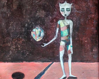 Mentalist painting art print crystals psychology surreal magic dreamy cosmic sci-fi space strange alien magician figurative wall art
