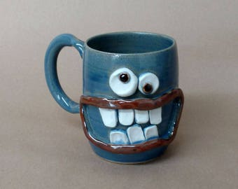 Coffee Lover Bacon Lover Mug. Gifts for Man. Blue Pottery Coffee Cup Man Husband Gift for Him Funny Big Smile Googly Eye Face Ceramic Stein.