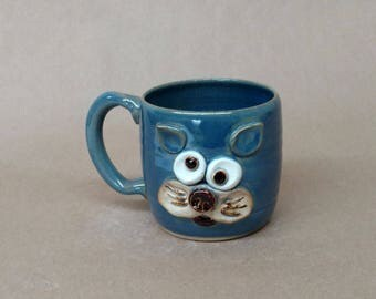 Mother's Day Gift. Food Safe Pottery Mug. Kitten Face Tea Cup. Speckled Blue Microwave and Dishwasher Safe Handcrafted in USA Pottery.