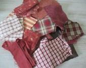 Vintage Fabric Bundle Burgundy Red