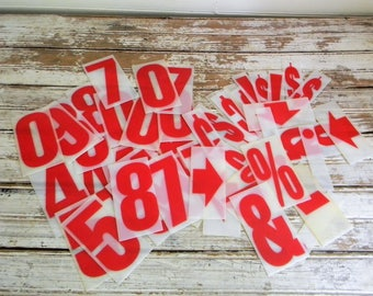 Vintage Sign Letters, Plastic Sign Numbers, Symbols, 4 Inch Letters, Lot of 50 Pc. Sign Letters, Red Sign Letters, Crafts, DIY Signs