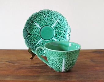 Vintage Majolica Cup and Saucer Cabbage Leaves Motif