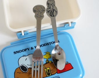 Vintage 1960s Childrens Flatware / Your CHOICE Danara Snoopy and Woodstock Childs Spoon, Fork or Baby Feeding Spoon