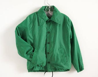 Vintage 1960s 70s Childs Size 6-8 Jacket VGC, David Peyser Warm Up Green Nylon Windbreaker Hidden Hood, Sports Casual Fall Spring Outerwear