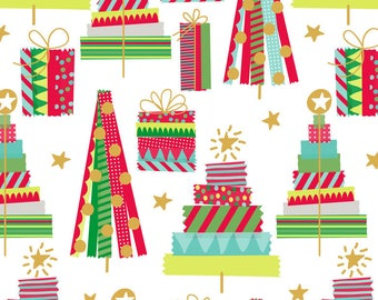 All is Bright Christmas Holiday Fabric Washi Tape Trees Gifts on White