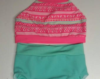EW0378:  Coral Aztec top with a teal brief