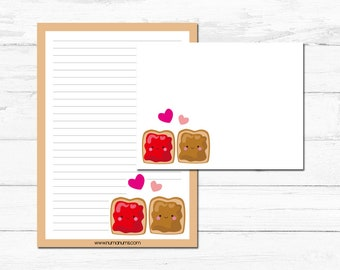 Stationery Set - kawaii peanut butter & jelly - letter writing
