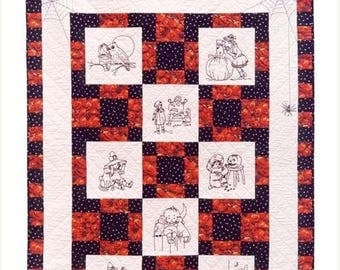 "SUMMER SALE Jolly Halloween Hand Embroidery Quilt Pattern 42"" by 52"""
