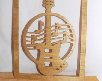 NEW GUITAR ELECTRIC Photo Scroll Saw Plaque