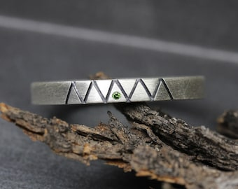 Men's Green Diamond Wedding Band Modern Simple Silver Mountain Pine Forest Ring Nature Lover Wanderlust Tribal Groom Ring For Him - Al-Pine