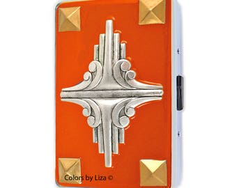 Art Deco Metal Cigarette Case Inlaid in Hand Painted Enamel Orange Opaque  Metal Wallet with Color Options and Personalized Options