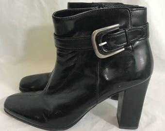 Franco Sarto Black Gemini Heeled Ankle Boots 10