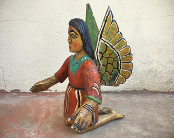 Vintage hand painted carved wood kneeling angel statue religious folk art carving
