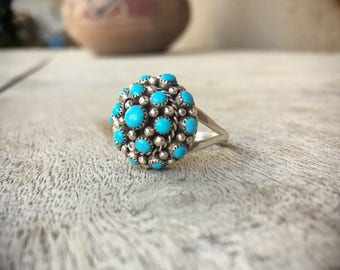 Turquoise Ring Women Size 7.5 Zuni Jewelry, Native American Ring, Turquoise Jewelry