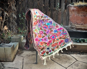 Mexican Textiles Embroidered Table Runner, Bohemian Decor, Long Wall Hanging, Long Wall Art, Mexican Decor, Housewarming Gift for Newlyweds