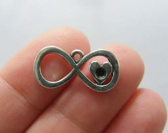 BULK 50 Infinity heart charms antique silver tone I144