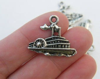 BULK 50 Riverboat pendants antique silver tone TT59