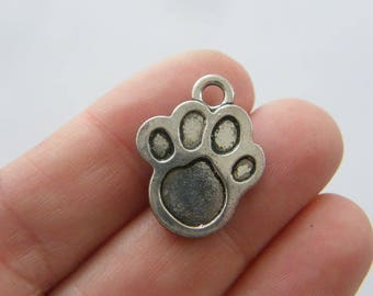 BULK 50 Paw  print charms antique silver tone A700