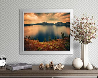 Crater Lake photo art print - sunset images - oregon scenic - fine art print - home decor - office decor - dorm decor - nature photography