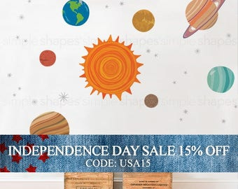 Independence Day Sale - Planets Wall Sticker - Peel and Stick Wall Sticker