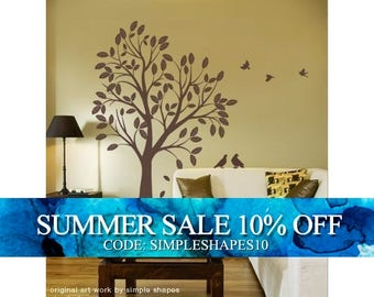 Large Tree with Leaves and Birds Decal - Vinyl Wall Sticker