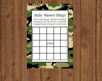 Camo Boy Baby Shower, Camo Baby BINGO, Camouflage Baby Shower, Instant Download, Camouflage Baby Bingo