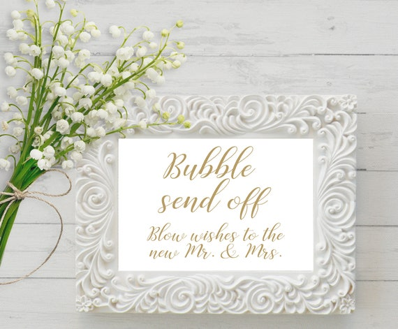 bubble send off sign bubble wedding sign blow wishes to the new mr