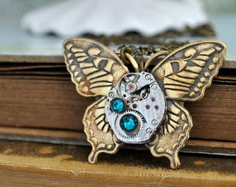 steampunk jewelry necklace TIME OF CHANGES antiqued brass butterfly steampunk watch movement necklace