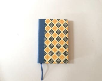 A6 Notebook, small diary journal, A6 hardbound notebook with graphic pattern in blue and yellow, blank page book as travel diary