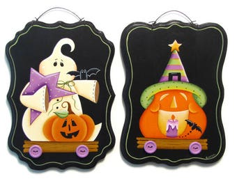 Halloween Ghost or Pumpkin Pull Toy Wall Art, Handpainted Wood Sign, Hand Painted Prim Decor Wall Hanging, Tole Decorative Painting