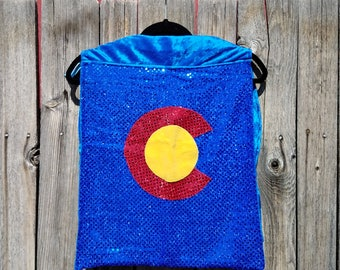 Child Tiny Size Colorado Flag Cape in Blue Sequin with Blue Faux Velvet Lining