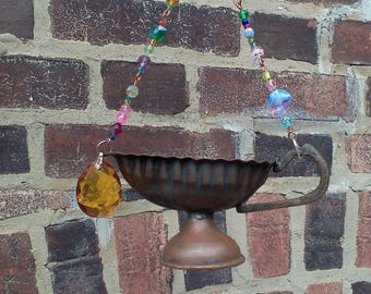 Beaded Vintage Copper Gravy Boat Sun Catcher