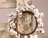"FARMHOUSE STYLE--COTTONBALL WReATH - or Candle ring- 12"" TReNDY DeCOR"