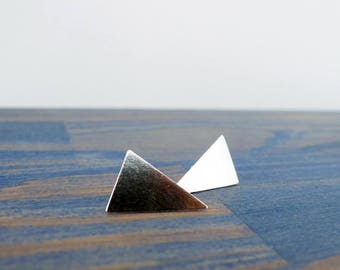 The Big Triangle Silver Stud Earrings. Pair of Recycled Sterling Triangle Earrings. Two Large Silver Studs. Handmade Stylish Winter Glam.