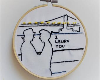 DIY Valentines Gift for Classic Movie Fan, I Leurv You Embroidery Pattern, DIY Hoop Art, PDF Pattern, Instant Download, Love Quote