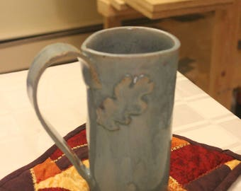 Light Blue Mug with Oak Leaf Appliqué