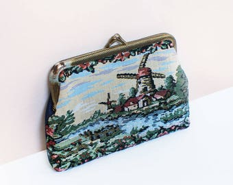 Holland Clutch - Embroidered Holland Landscape