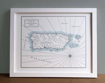 Puerto Rico, Letterpress Map Print