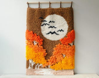 Vintage Hooked Rug Wall Hanging, 1970s Shag Rug Wall Hanging Textile