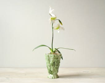 Vintage Flower Vase, Green Vase, Ceramic Bamboo Vase
