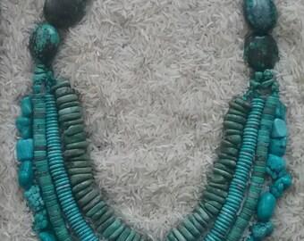 Chunky Turquoise Necklace multi strand big large statement blue nugget beads stone Southwest style boho bohemian gypsy hippie handmade beach