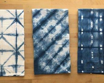 Hand-dyed Set of Linen Shibori Tea Towels