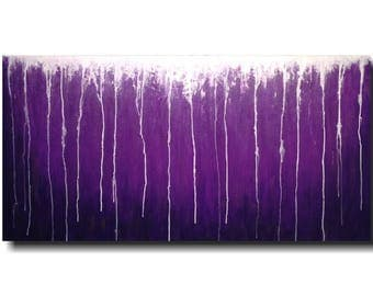 Large Abstract paintings - 24 X 48 -Art -by Artist JMJartstudio- -Wall art-wall decor -Serenity- -PURPLE