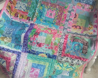Scrappy Log Cabin Patchwork Quilt Bright Colorful Blue Green Pink Purple Red Grey Black White Brown Ready to Ship