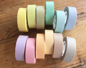 mt 2017 - Solid Pastel color Japanese Washi Masking Tapes set of 12 for packaging, scrapbooking, invitation making, party decoration