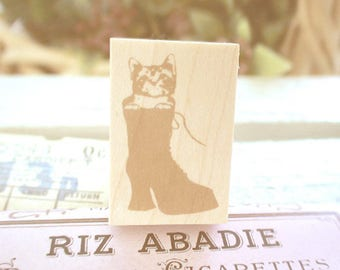 "New-Japanese Wooden Rubber Stamps - Vintage style ""Cat in the Boot"" Stamps for Journaling, Scrapbooking, Packaging, planner techo deco"